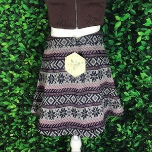 Short Skirt Knitted Lavender Front Zipper